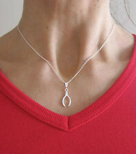 925 sterling silver Lucky WISHBONE pendant and chain