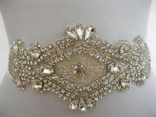Rhinestone Applique Wedding Sash Ivory/White Bridal Sash Belt Dress Deanna