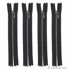 """4"""" Bronze Brass Close-End #0 Tiny Teeth Doll Clothes Black Sewing Zippers 4pcs"""