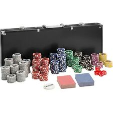Set da Poker e valigetta da alluminio da 500 fiches laser chip set di carte nero