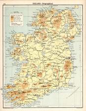 IRELAND - OROGRAPHICAL 1905 Robertson & Bartholomew ANTIQUE MAP