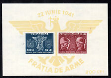 ROMANIA SEMI-POSTAL SOUVENIR SHEET/2 #B174, 1941 IMPERF, VF, MINT