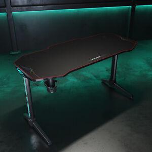 Gaming Tisch schwarz Computertisch 140cm Schreibtisch Ergonomischer Carbon Optik