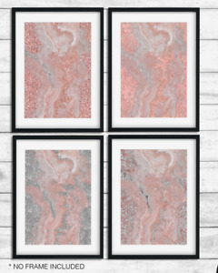 rose gold, pink Silver Abstract marble glitter effect beauty room Art print