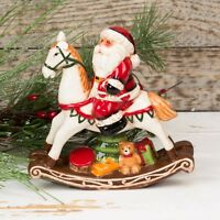 6937 Beautiful X Large Ceramic Green Santa Owl ~ Christmas Ornament ~ Red Hat