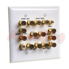Speaker Wall Plate 7.2 Surround Sound Distribution 2 Gang 2 RCA Jacks