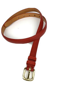 Coach Women Red Belt Real Glove Tanned Cowhide Leather/Solid Brass Vintage 34/85