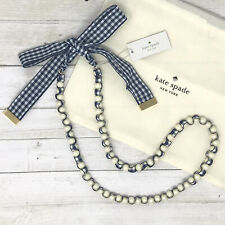 NWT Kate Spade Pretty Pearly Long Necklace Gingham Navy Ribbon MSRP $108