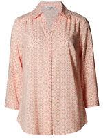 Ladies New ex M&S Coral Tile print Blouse Top Size 12-14-16-18-20-22-24