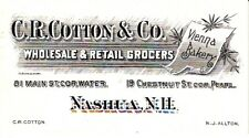 C.R. Cotton & Co Wholesale & Retail Grocers Nashua New Hampshire NH Card