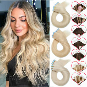 SUPER THICK 150G+ Tape In Remy Human Hair Extensions Skin Weft FULL HEAD #BLONDE