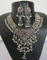 Tribal Kuchi Necklace Choker Earrings Boho Gypsy Afghan Vintage Bohemian Style