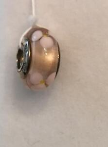 Pandora sterling silver Captivating Pink & White Flower Murano Glass Bead