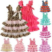 Kid Baby Flower Girls Dress Princess Party Pageant Wedding Ruffle Tutu Dresses