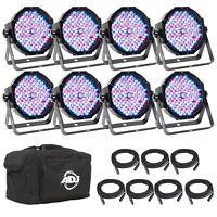 American DJ Mega Flat Pak 8 Plus RGB + UV LED Par Profile System w/ Bag + Cables