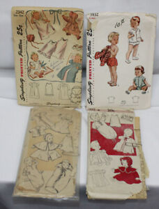 4 Vtg Sewing Patterns 1940-1950s Lot Children's Infants Baby Girls Boys Newborn