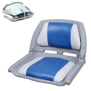 [PRO.TEC] Bootssitz Bootsstuhl Steuerstuhl Anglerstuhl Klappbar Blau-Weiß-Grau