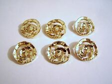 6 LARGE SHINY GOLD RETRO  STYLE DRESS COAT BLAZER BUTTONS 28mm