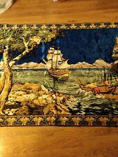 """Awesome Vintage MCM Velveteen Pirate/Explorer Ship/Boat Tapestry 48""""X80"""""""
