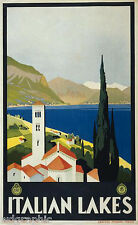 Italian Lakes  Travel Poster or Canvas Print 19x30