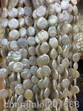 "Pearl Beads 13"" Natural 12mm White Biwa Flat Round Coin"