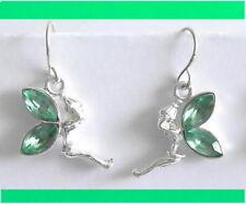 Tinkerbell Vert Boucles d'oreilles en cristal 20 mm L Fille Teen Pierce couleur Argent Neuf Paire