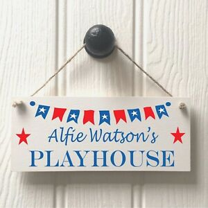 Personalised Boys Playhouse Door Sign - Handmade Childs Bunting Playhouse Sign