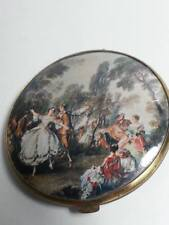 VINTAGE ANTIQUE COLLECTIBLE POCKET MIRROR TWO SIDED VICTORIAN STYLE  MOTIF