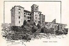 GORZEGNO: il Castello. Langhe. Alta Langa. Cuneo. Piemonte. Stampa Antica. 1901