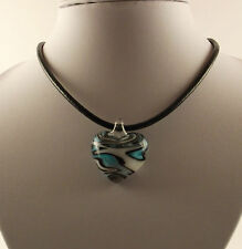 "Handmade Lampwork Glass Blue & White Heart Pendant & 18"" Black Leather Cord."