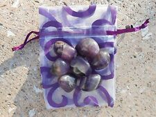 """7 AFRICAN AMETHYST TUMBLED STONES WITH POUCH """"SWEET DREAMS""""-#BN."""