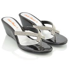 Womens Wedge Heel Flip Flops Sandals Diamante Sparkly Ladies Toe Post Shoes 3-9 Black Patent UK 7 / EU 40 / US 9