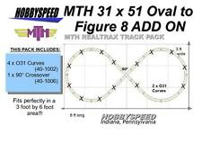 MTH REALTRAX 31 X 51 OVAL TO A FIGURE 8 TRACK LAYOUT ADD-ON-PACK layout NEW
