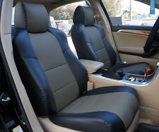 ACURA TL 2004-2008 BLACK/CHARCOAL S.LEATHER CUSTOM FRONT SEAT COVER