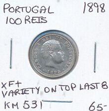 PORTUGAL 100 REIS 1898 KM 531 - XF+