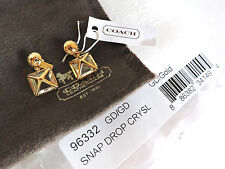 Coach Gold Snap Drop Pave Crystal Earrings NWT