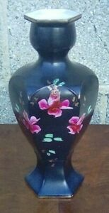 Attractive Antique/Vintage Black Vase Decorated With Hand-Painted Pink Flowers