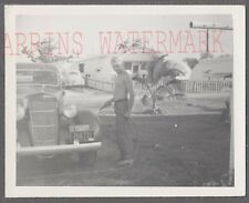 Vintage Car Photo Man Washing 1935 Dodge Automobile 765035