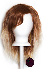 14'' Crimped Shoulder Length w/ Short Bangs Brown Fade Blond Cosplay Wig NEW