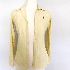 RALPH LAUREN Women's Button down shirt Size 2 Yellow Slim fit long sleeve Casual