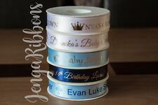 25mm personalised satin Ribbon Cake Birthdays christenings Baby Shower Wedding