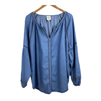 Knox Rose Embroidered Top XXL Denim Blue V-Neck Peasant Balloon Sleeve Womens