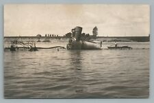 Sunken Train or Equipment—Industrial Disaster RPPC Antique Photo Boat 1910s