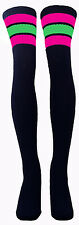 HOT PINK/NEON GREEN Striped Thigh High Black Tube Socks Sexy 35-029