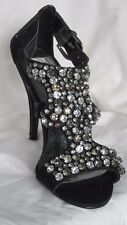 NEXT 'Occasions' Black rhinestone encrusted - ankle fastening high heeled shoes