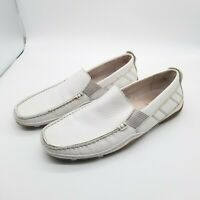 GBX Men White Leather Loafers Driving Moccasins Slip On 7 M