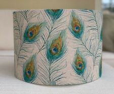Handmade Lampshade Peacock Feathers Fabric Green Blue Linen Look Birds