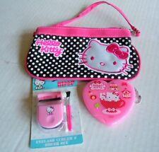 Sanrio Hello KItty Small Purse/Makeup Bag w/Eyelash Curler & Heart Mirror Case