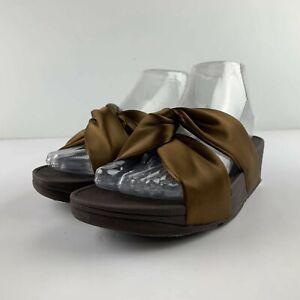 NEW Fitflop Piper Satin Slide Women US 6 Bronze Sandal Twist Casual Open Toe