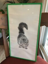 Vintage Long Haired Cat Picture Drawing Print By G Zuñiga Art Framed